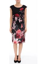 Garden Print Sleeveless Midi Dress Black/Red - Gallery Image 2