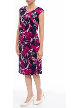 Anna Rose Floral Scuba Dress Navy/Magenta - Gallery Image 2