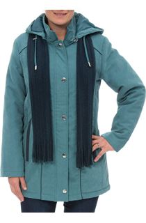 Anna Rose Hooded Coat With Scarf - Deep Aqua