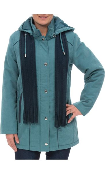 Anna Rose Hooded Coat With Scarf Deep Aqua - Gallery Image 2