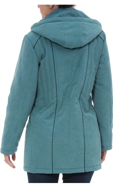 Anna Rose Hooded Coat With Scarf Deep Aqua - Gallery Image 3