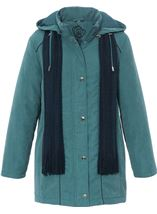 Anna Rose Hooded Coat With Scarf Deep Aqua - Gallery Image 1