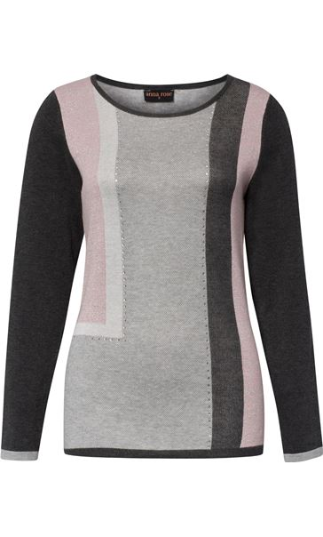 Anna Rose Colour Block Shimmer Knitted Top Grey/Pink