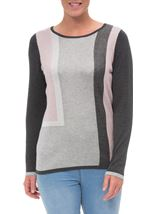Anna Rose Colour Block Shimmer Knitted Top Grey/Pink - Gallery Image 2