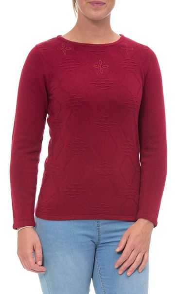 Anna Rose Embellished Knit Top Cranberry - Gallery Image 2