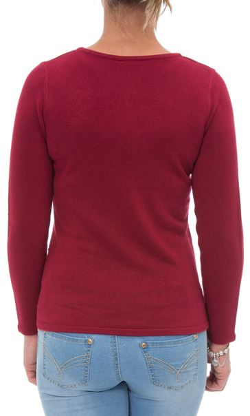 Anna Rose Embellished Knit Top Cranberry - Gallery Image 3
