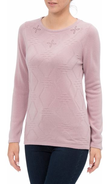 Anna Rose Embellished Knit Top Heather