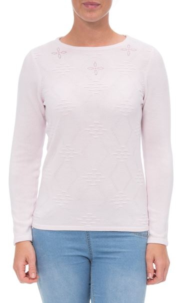 Anna Rose Embellished Knit Top Pale Pink