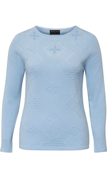 Anna Rose Embellished Knit Top Soft Blue