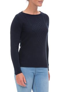 Anna Rose Cable Detail Knit Top - Blue