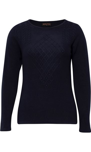 Anna Rose Cable Detail Knit Top Navy