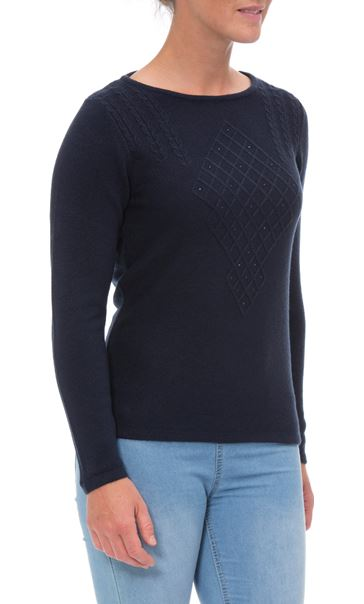 Anna Rose Cable Detail Knit Top Navy - Gallery Image 2