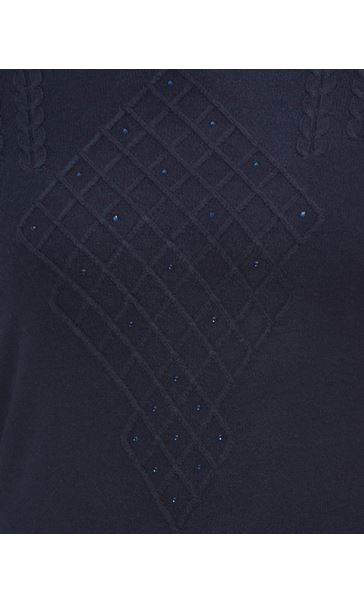 Anna Rose Cable Detail Knit Top Navy - Gallery Image 4