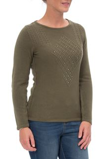 Anna Rose Cable Detail Knit Top - Khaki