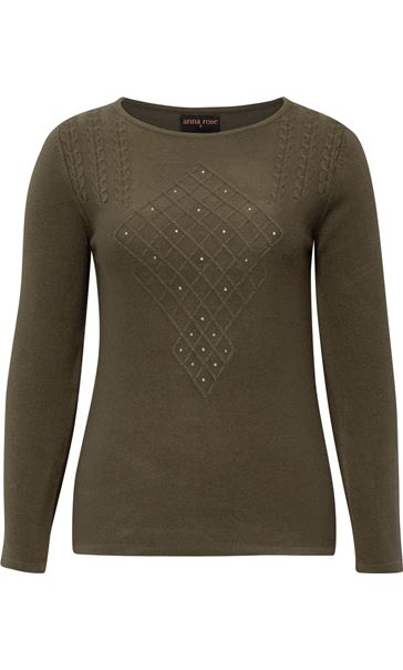 Anna Rose Cable Detail Knit Top Khaki