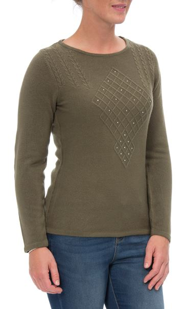 Anna Rose Cable Detail Knit Top Khaki - Gallery Image 2