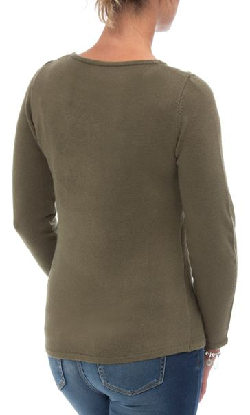 Anna Rose Cable Detail Knit Top Khaki - Gallery Image 3