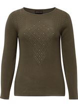 Anna Rose Cable Detail Knit Top Khaki - Gallery Image 1