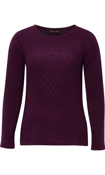 Anna Rose Cable Detail Knit Top Plum