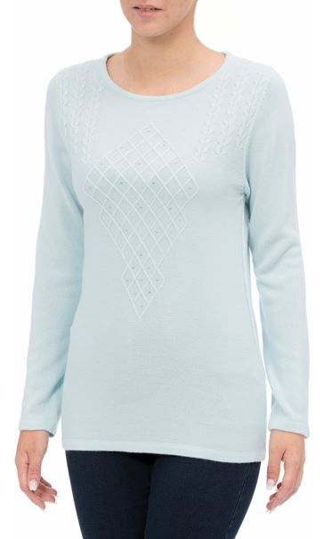 Anna Rose Cable Detail Knit Top Starlight Blue