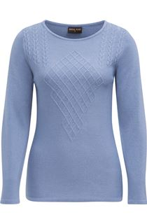 Anna Rose Cable Detail Knit Top - Steel Blue