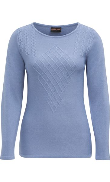 Anna Rose Cable Detail Knit Top Steel Blue