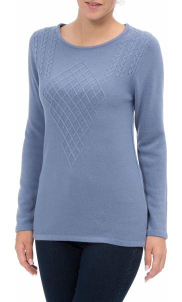 Anna Rose Cable Detail Knit Top Steel Blue - Gallery Image 2