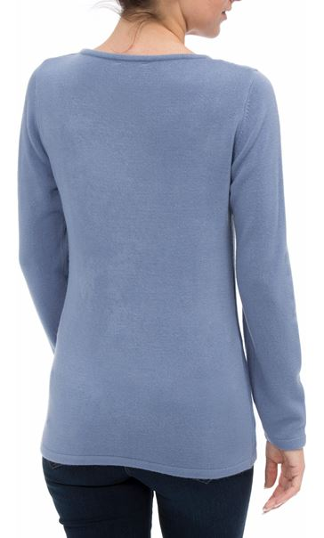 Anna Rose Cable Detail Knit Top Steel Blue - Gallery Image 3