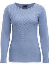 Anna Rose Cable Detail Knit Top Steel Blue - Gallery Image 1