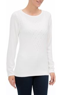 Anna Rose Cable Detail Knit Top - Ivory