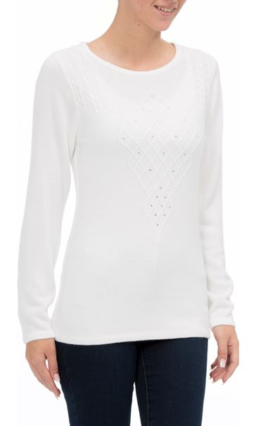 Anna Rose Cable Detail Knit Top Ivory - Gallery Image 2