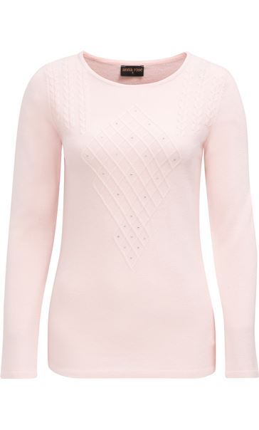 Anna Rose Cable Detail Knit Top Soft Pink
