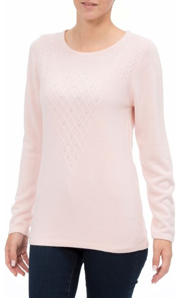 Anna Rose Cable Detail Knit Top Soft Pink - Gallery Image 2