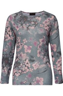 Anna Rose Embellished Lightweight Printed Knit Top