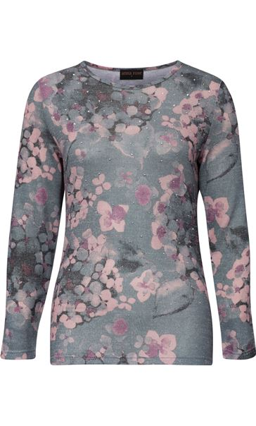 Anna Rose Embellished Lightweight Printed Knit Top Grey/Pink