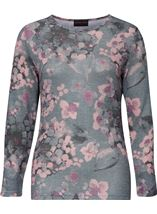 Anna Rose Embellished Lightweight Printed Knit Top Grey/Pink - Gallery Image 1