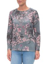 Anna Rose Embellished Lightweight Printed Knit Top Grey/Pink - Gallery Image 2