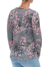 Anna Rose Embellished Lightweight Printed Knit Top Grey/Pink - Gallery Image 3