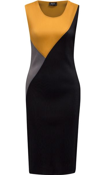 Sleeveless Colour Block Pleated Midi Dress