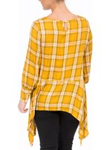 Check Dipped Hem Tunic Mustard - Gallery Image 2
