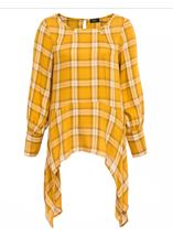 Check Dipped Hem Tunic Mustard - Gallery Image 3