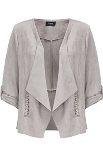 Suedette Open Jacket - Grey