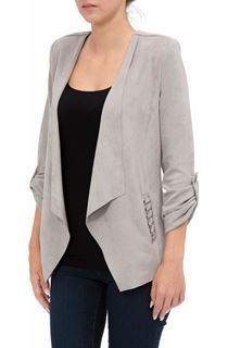 Suedette Open Jacket - Light Grey