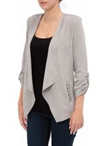 Suedette Open Jacket Light Grey - Gallery Image 2