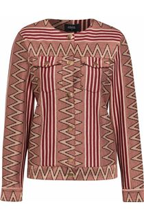Collarless Patterned Trophy Jacket