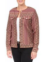 Collarless Patterned Trophy Jacket Black/Red - Gallery Image 2