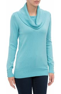 Cowl Neck Knit Top - Sky Blue