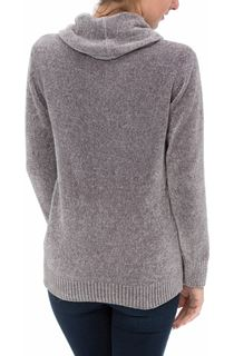 Cowl Neck Long Sleeve Chenille Top - Grey