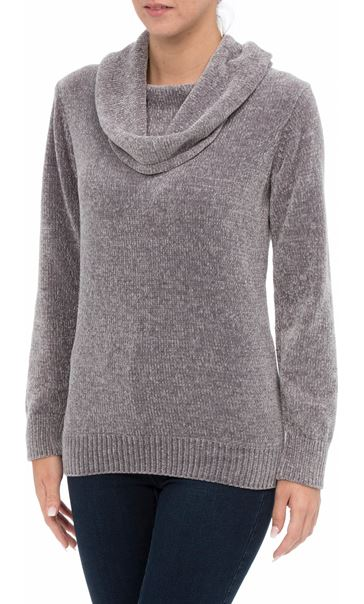 Cowl Neck Long Sleeve Chenille Top Grey