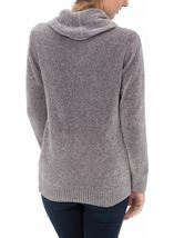 Cowl Neck Long Sleeve Chenille Top Grey - Gallery Image 2